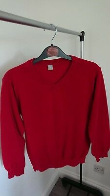 Boys Red School Jumper Age 11 Years 100% cotton from TU