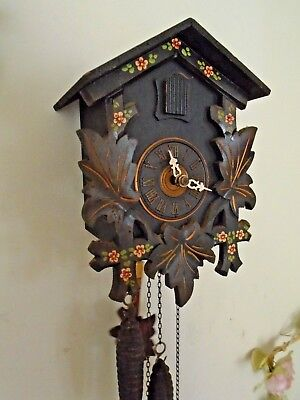 Vintage German Wooden Cuckoo Clock By August Schwer - Good Working Order
