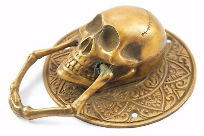 Skull Door Knocker Vintage Antique Victorian Solid Brass Tattoo Harley Davidson