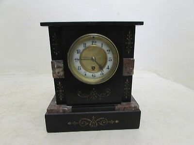 Antique French Black Slate & Red Marble Mantel Clock