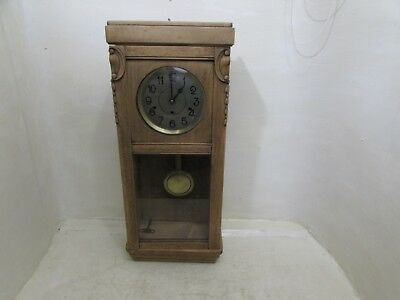 Art Deco German Solid Oak Cased Westminster Chime Wall Clock For Project
