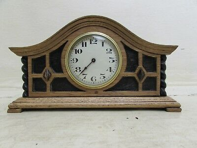 Antique Oak 8 Day Floating Balance Mantel Clock Beautiful Working Condition