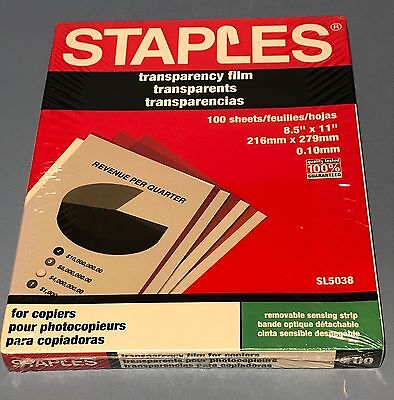 Staples SL5038 Transparency Film for Copiers Box of 100 Sheets - NEW