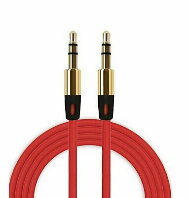 3.5mm Male to 3.5mm Male Aux Cable Cord Car Audio Headphone Jack Red 3FT