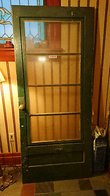 "Antique Vintage Wood Glass Storm Door W Hardware 4 Panes of Glass 34"" 1/2 x 80"""