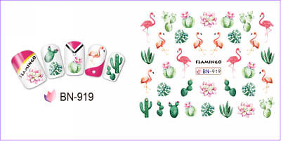 Nail Art Water Decals Transfers Stickers Summer Flamingo Palm Trees Floral BN919