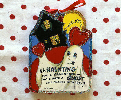 Glittered Wooden Valentine Halloween Ornament~Ghost & House~Vintage Card Image~