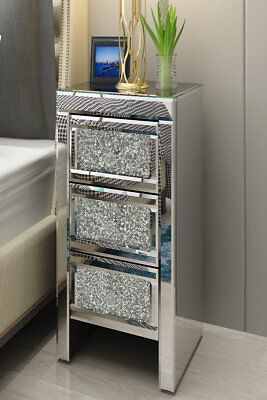 Modern Crystal Mirrored Glass Bedside Table Cabinet 3 Drawers Bedroom Furniture
