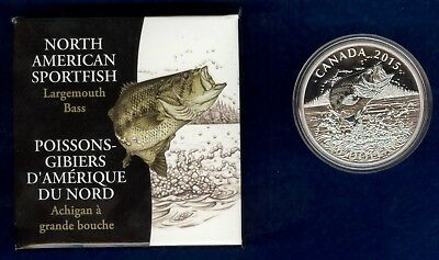 2015 $20 1 oz Silver Proof North American Sportfish, Largemouth Bass Coin