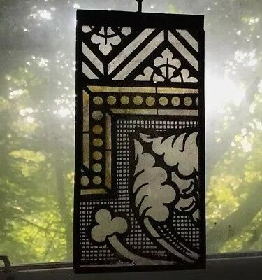Architectural Salvage Leaded Stained Glass- Painted, Gold, Black, and White