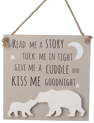 Hanging Wooden Tuck Me In Tight Plaque Baby Bear Nursery Bedroom Sign Wood Child