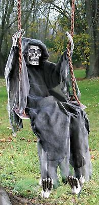 LIFE SIZE 5 FT HANGING Swinging Skeleton Spirit OUTDOOR HALLOWEEN PROP HAUNT