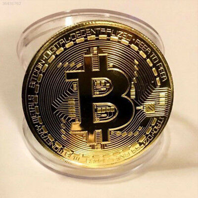 Gold Bitcoin Commemorative Round Collectors Coin Bit Coin is Gold Plated Coins Q