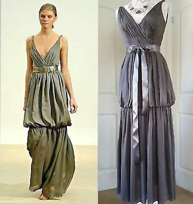 *$5K Oscar De La Renta Stunning Stylish Steel Grey Silk Gown Dress Runway Us 4