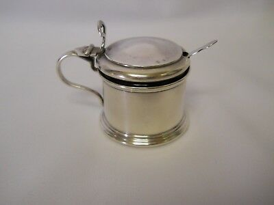 Elkington & Co. Sterling Silver Mustard Pot With Cobalt Liner - Birmingham 1928