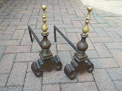 Antique Fire Dogs / Fire Andirons  (Cast Iron And Brass Fire Andirons.)