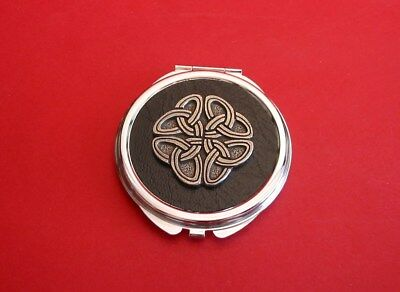 Celtic Knot Black Faux Leather Top Compact Mirror Mother Daughter Celtic Gift
