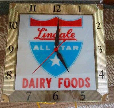 "1950s-60s ""Lindale"" ALL-STAR DAIRY LIGHTED CLOCK.....L@@K!"