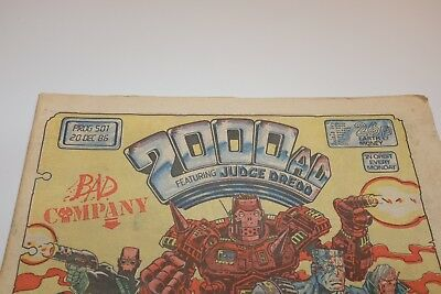 RARE 2000AD FEAT JUDGE DREDD COMIC Prog 501 20/12/86 PAPER