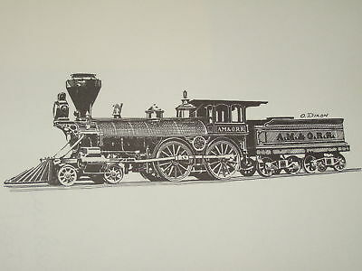 ONE 8x10 BLACK & WHITE SKETCH of an EARLY 4-4-0 Atlantic Mississippi Ohio  Dixon