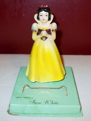 Vintage Antique Walt Disney SNOW WHITE Watch Display Box FIGURINE Porcelain ^