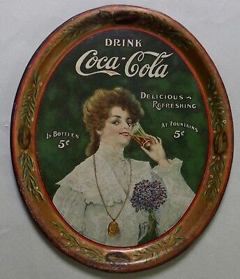 "1906 Coca Cola Advertising Serving Tray 'junita"" Pretty Girl Beautiful.not A Tip"