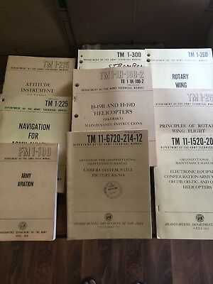 Lot Of 9 Vintage Army Aviation Manuals 1954-1965