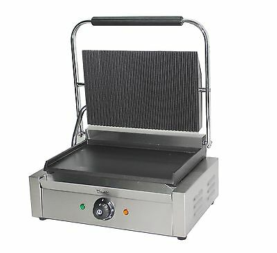 Commercial Panini Press Toaster Electric Sandwich Maker Machine Ribbed Top Grill