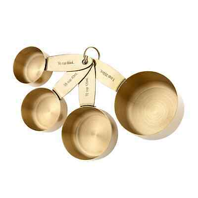 NEW Ladelle Lawson Measuring Cups Gold Set of 4