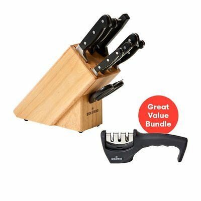 NEW Wolstead Starkt 9pc Knife Block Set and 3 Stage Sharpener Pack