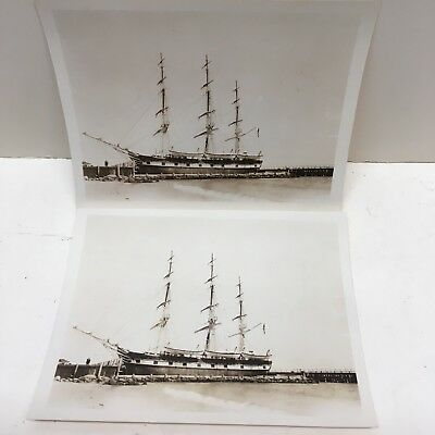 2 Antique Photos Whaling Ship Charles W. Morgan Sepia Photographs Sea Sailing