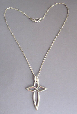 """VINTAGE LARGE ANN KING STERLING INFINITY CROSS PENDANT NECKLACE 20"""" 16.4g"""