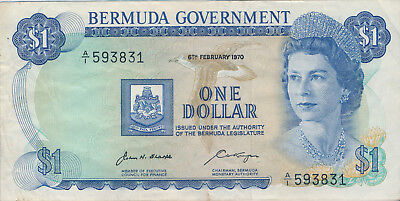 1970 Bermuda $1 Note **about Uncirculated - Pick #23** Free Shipping!