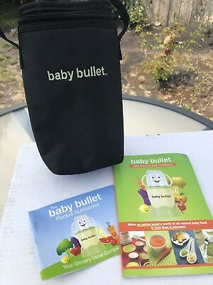 Baby Bullet Thermal Black Tote Insulated Zippered Bottle Bag CookBook Recipes