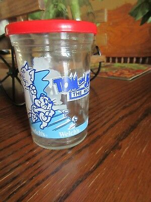 Vintage 1993 Welch'S Jelly Jar Tom And Jerry The Movie Juice Glass With Lid