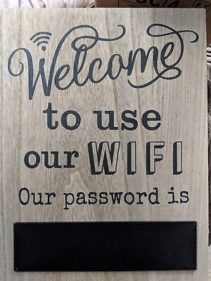 Wooden Large Hanging Sign Welcome To Use Our  WIFI PUBS CAFES B & B'S 41cm x 30