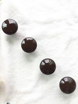 "Vintage (34)- NOS Amerock Retro Brown Ceramic Drawer Door Knobs 1 3/8"" Dia."