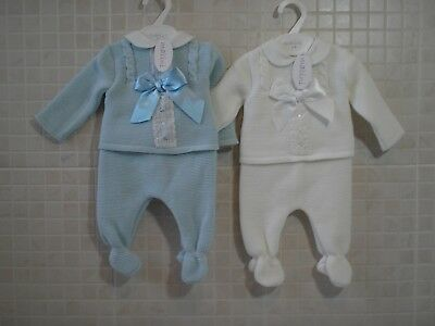 Spanish Style Knitted set  Baby Boy Girl Top Leggings  White Blue 0-3 3-6 6-9 m