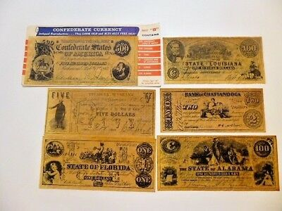Vintage Reproduction Confederate Currency Set B  w/envelope