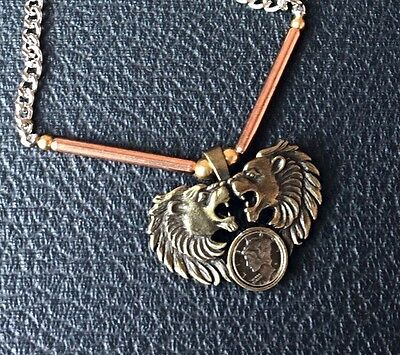 Pewter Lion Heads Necklace Made In Usa Buy Any Two Styles Get One Free