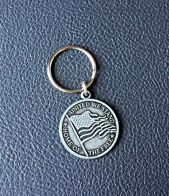Usa Flag God Bless America United We Stand Home Of The Free Keychain Ring