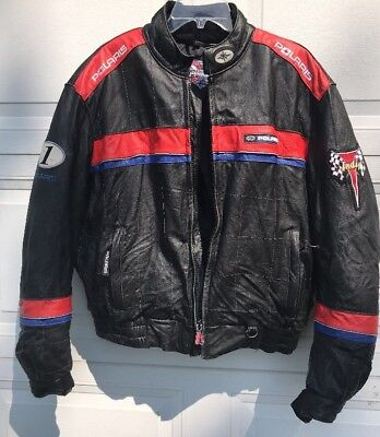 POLARIS Winter Snow Mobile / Motorcycle LEATHER JACKET/ COAT/ BOMBER Mens Large.