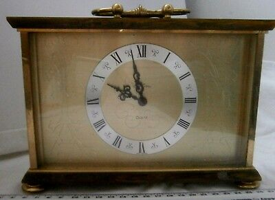 Bontima Vintage Heavy Brass and Onyx Battery mantle clock