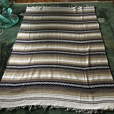 "Vintage Woven Wool Blanket Mexico 55 X 80"" Banded Fringed Cream Browns Navy Blue"