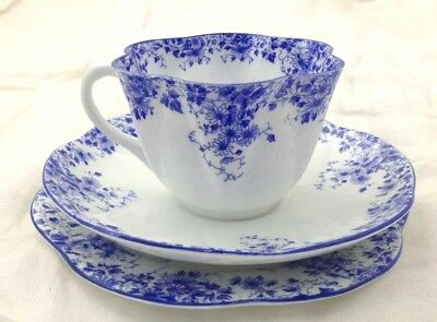 Teacup Saucer Bread & Butter Plate Trio Blue Dainty Shelley England Bone China