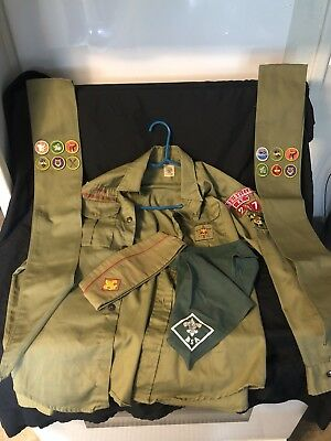 "1960's Boy Scouts of America Shirt w/ Louisville KY Hat , Scarf Etc ""Wow"""