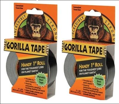 """2 x Gorilla Tape Handy Roll 25mm 1"""" x 9M Tape Strong Seal Sticky Duct Glue Small"""