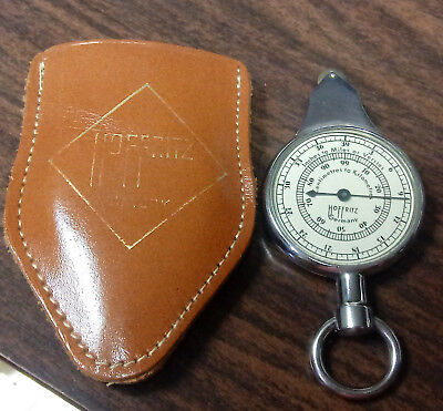 Old HOFFRITZ German MILEAGE Mile Land NAUTICAL MAP Reading GUAGE w/Leather Case