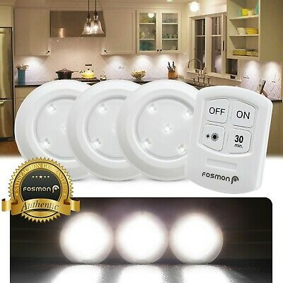 Under Cabinet Lighting Wireless Puck Light SMD LED Remote Control Battery Timer