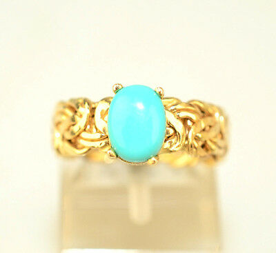 14K YELLOW GOLD 7.7 by 5.7 MM OVAL PERSIAN TURQUOISE RING BYZANTINE BAND SIZE 6
